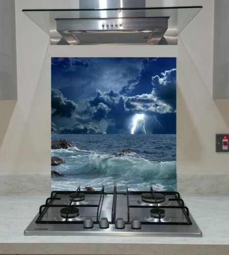 Splashback Toughened Glass Modern Unique Lightnings in Sark Sky Storm Any Sizes