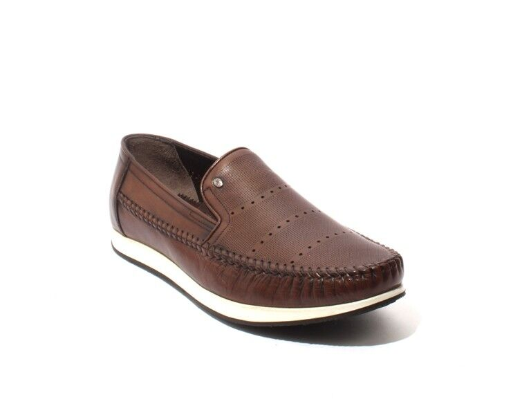 ROBERTO SERPENTINI 17500 Brown White / Leather Moccasins Loafers 45 / US 12