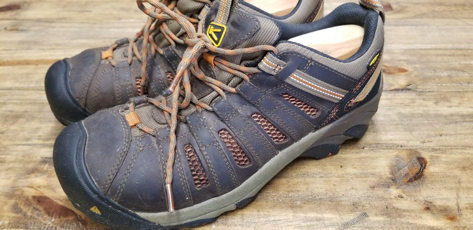 Keen Mens tamaño 9.5 Zapatos Trabajo Puntera De Acero Cuero Marrón Hecha en EE. UU. ASTM F2413-11