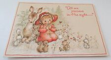 Used Vtg Christmas Card Mary Hamilton Girl Praying w Deer, Bunnies & Squirrels