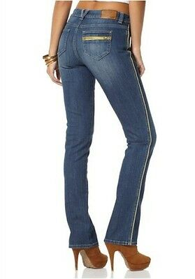 Arizona Jeans NEU Gr.34-40 Damen Gerade Hose Stretch Denim Blau Used Blue L32