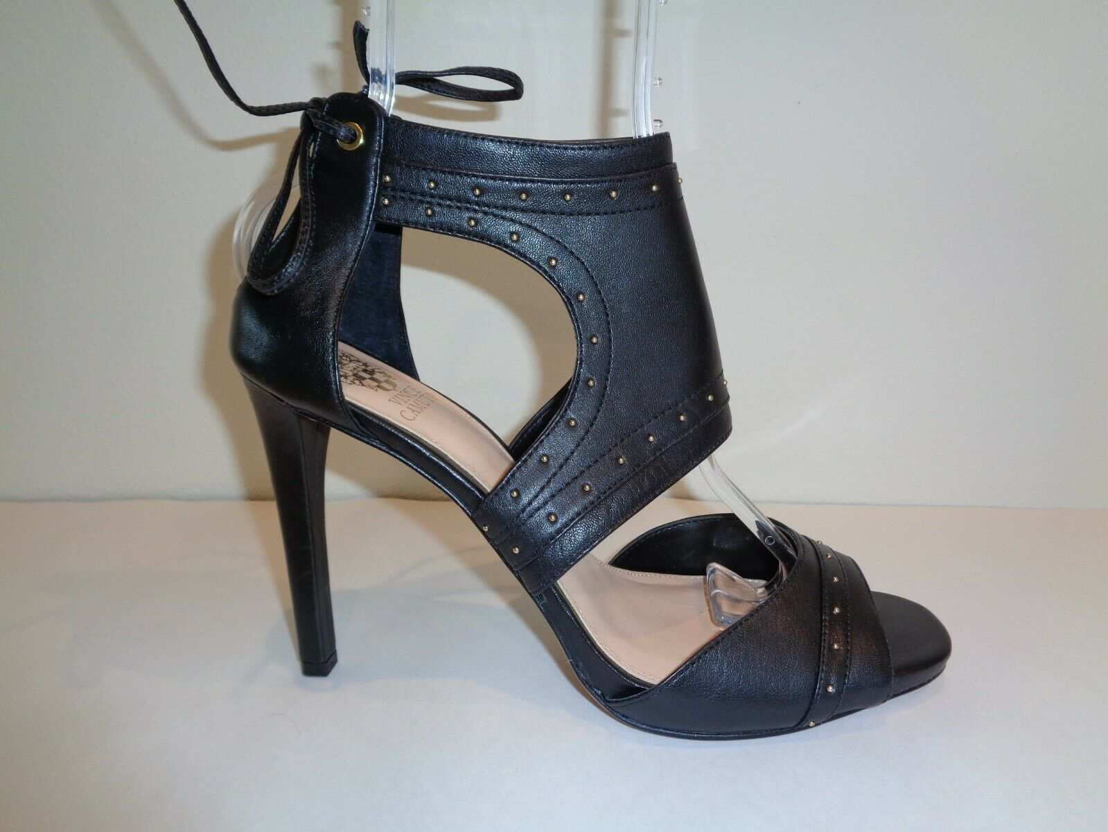 Vince Camuto Size 10 M ROUX Black Leather Heels Sandals New Womens shoes