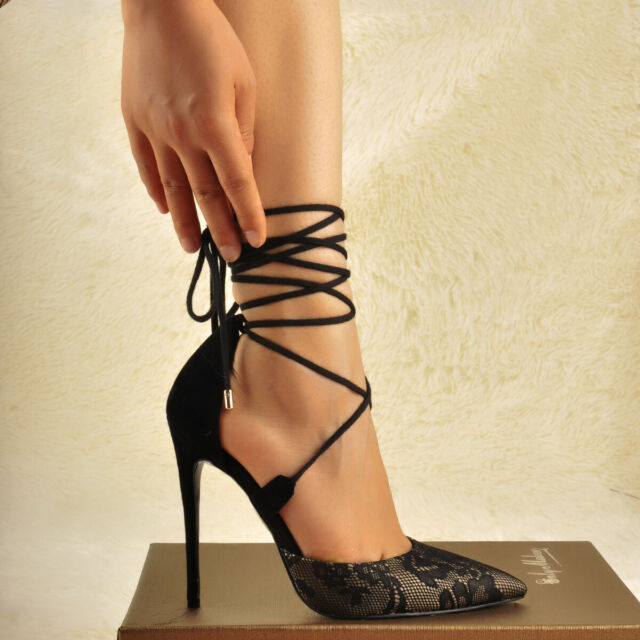 a833936d711 Onlymaker Womens Lace Up Pointed Toe High Heel Ankle Strap Criss Cross  Stilettos