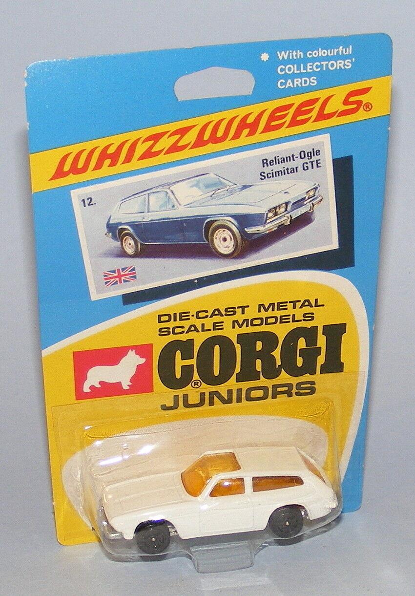 CORGI JUNIORS  12 RELIANT SCIMITAR GTE vintage 1970 RARE CORPS Blanc Noir Roues