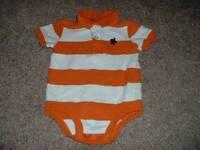 Carter's Baby Boys Orange Striped Turtle Polo Bodysuit Top Size 6 Months 6M 3-6