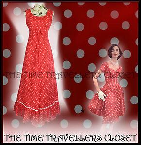 Clive Byrne verdadero Vintage años 60 Rojo Blanco De Lunares Vestido Maxi Hippy Festival UK 8