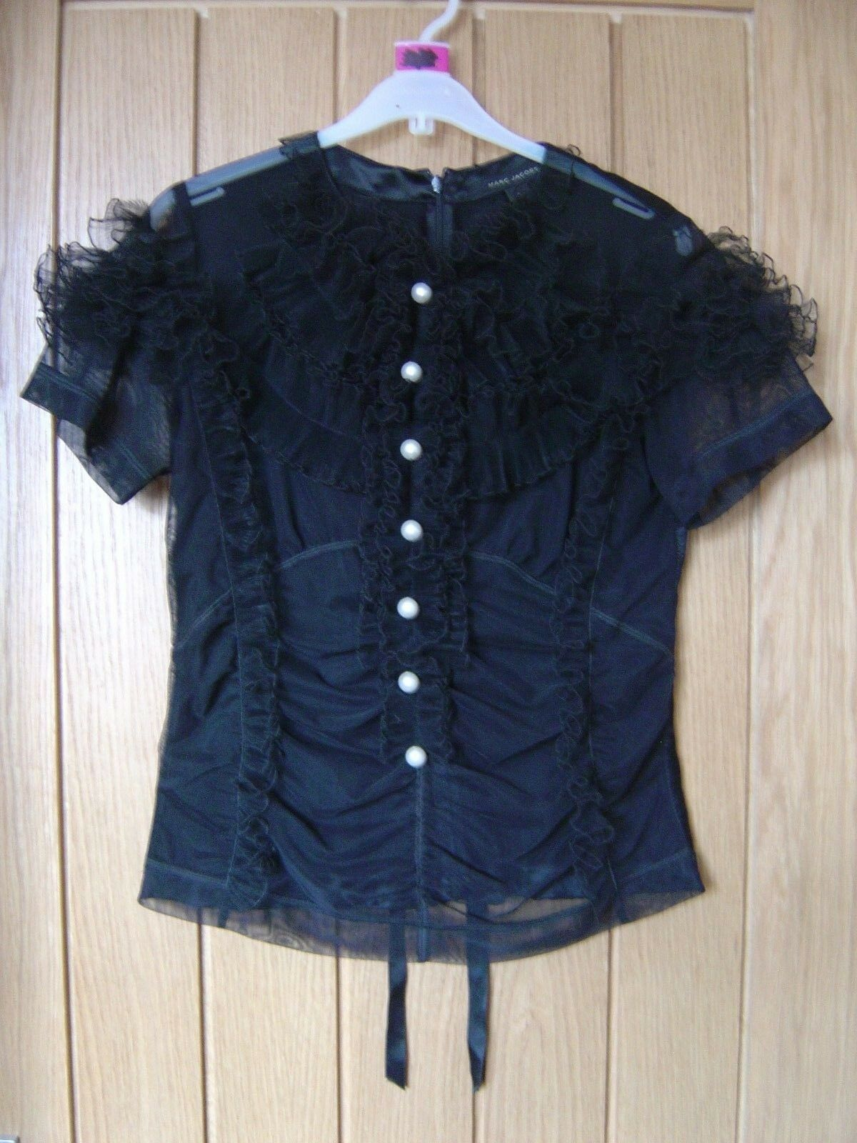 Marc Jacbos schwarz Frill Top Größe US 4 (Ref M) Excellent Condition