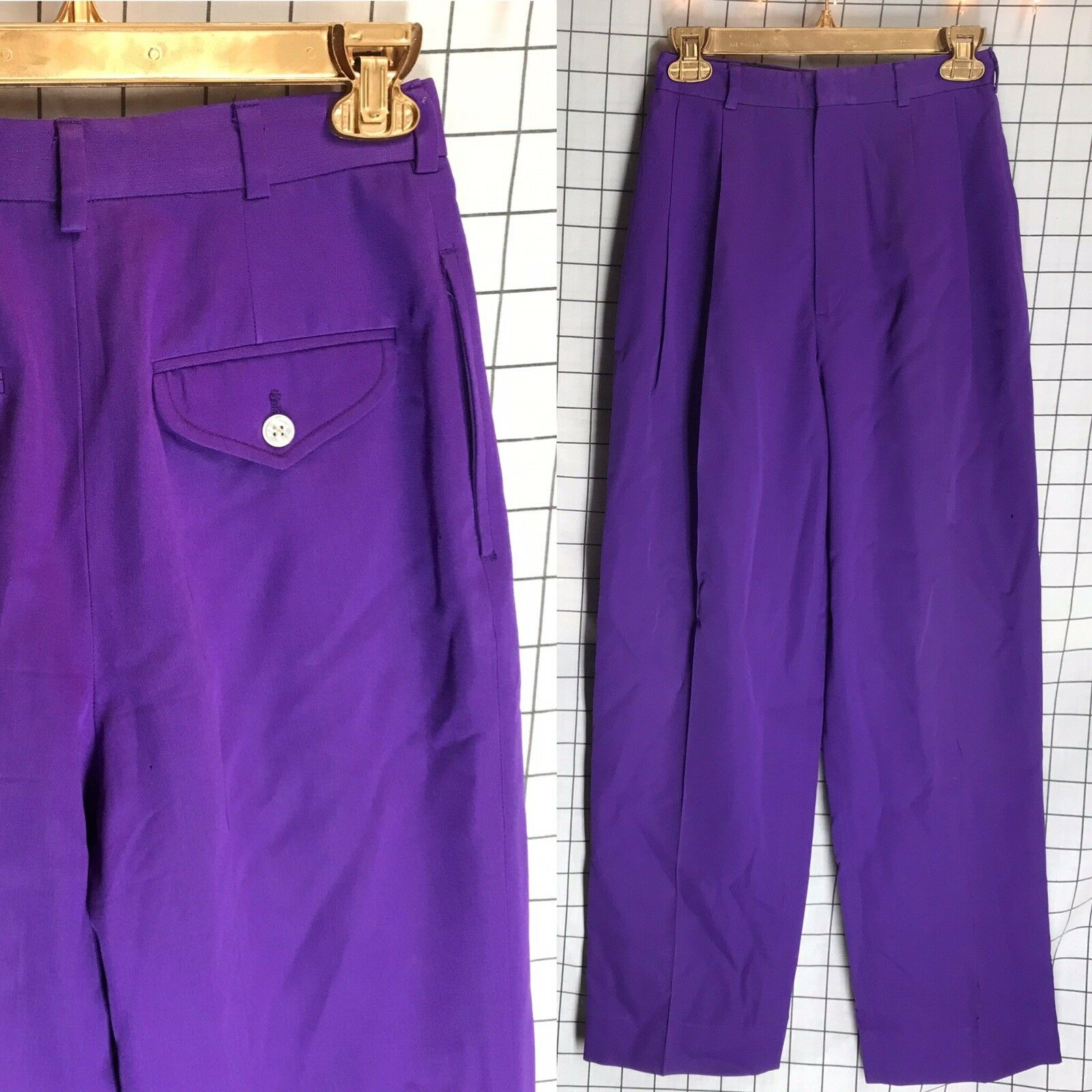 Vintage Ralph Lauren bluee Label Size 4 Wide Leg Purple Pants High Waist Women's