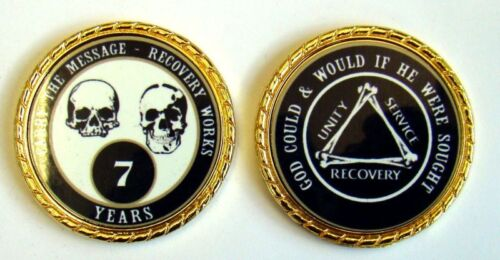 """Alcoholics Anonymous 1 Year Rope Edge Sobriety Coin Chip 1 3//4/"""" Pink//Pink"""