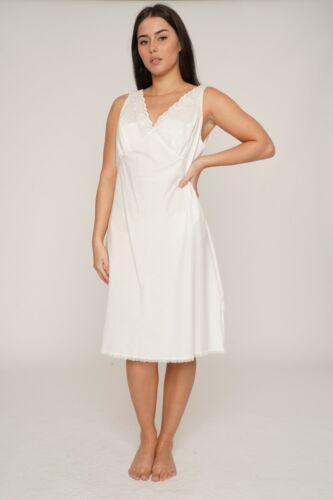COTTON EMBROIDERED BUST Full Slip//Petticoat Underlips WHITE CREAM /& BLACK