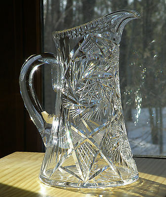 Vintage American Brillant Cut Glass pitcher 1900-1914or17 transition period