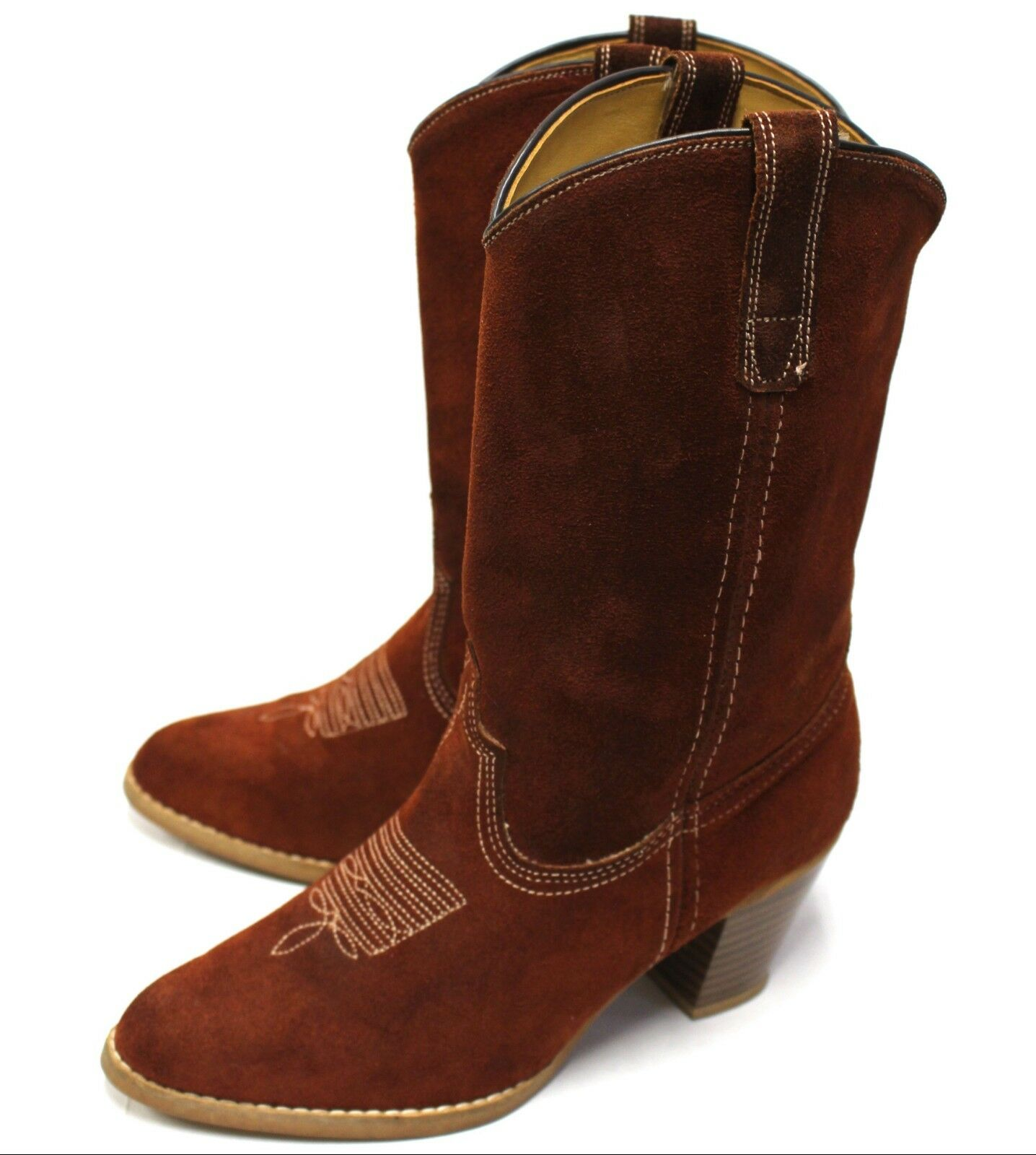 Women 8.5M Cowgirl Boots Brown Suede Leather Embroidery Chunky shoes Rodeo Ranch