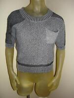 Boy Meets Girl Cropped Black/gray Short Sleeve Sweater Top Juniors Medium M