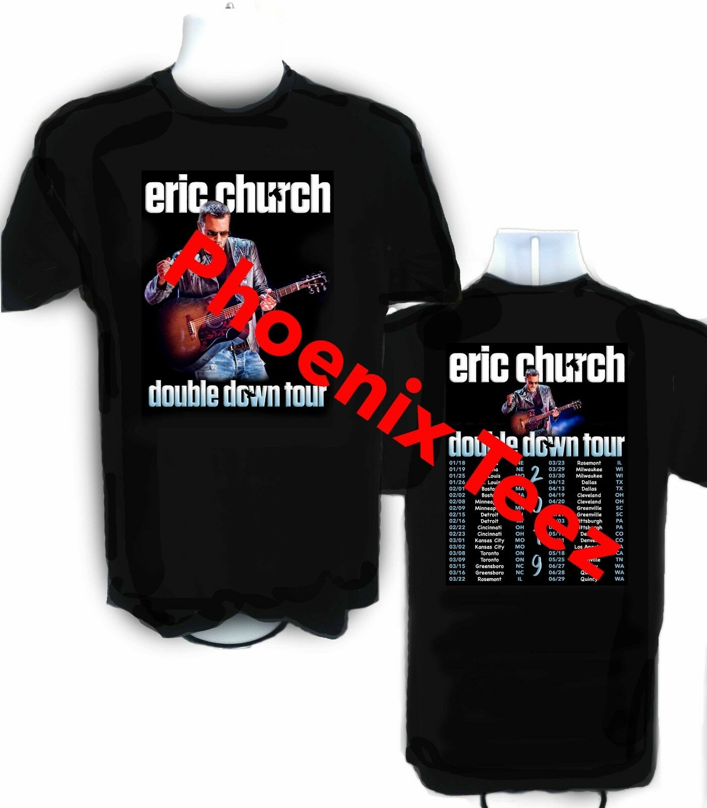 Eric Church 2019 Double Down Tour t shirt  Sizes S - 6X