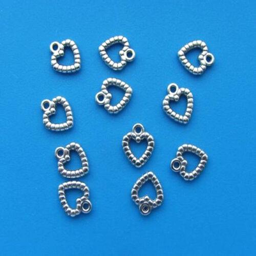 10 X tibetano plata corazón encantos 10mm Fancy Acanalado