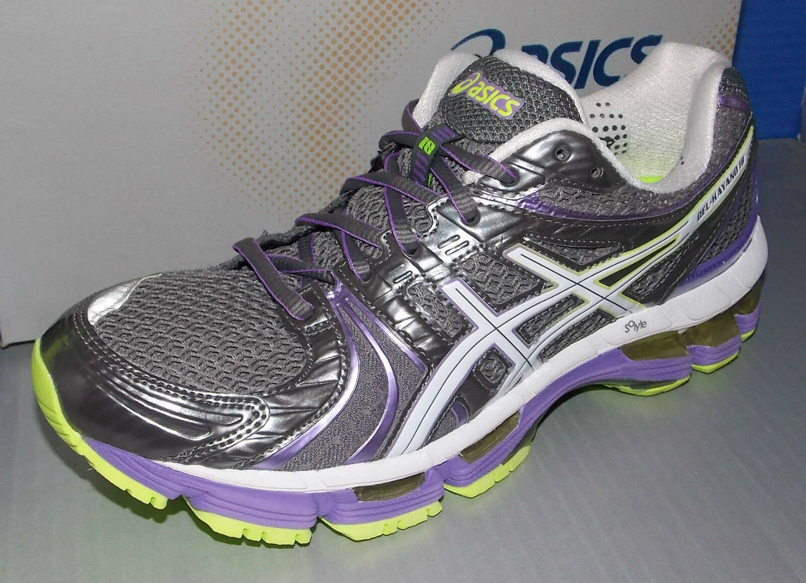 WOMENS ASICS GEL - KAYANO 18 in in in colors TITANIUM   WHITE   NEON PURPLE SIZE 6 c503c4