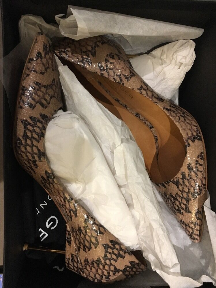 Kurt Geiger Pelle Lizard in Stampa in Lizard metallo Tacco Punta UK6 653b42