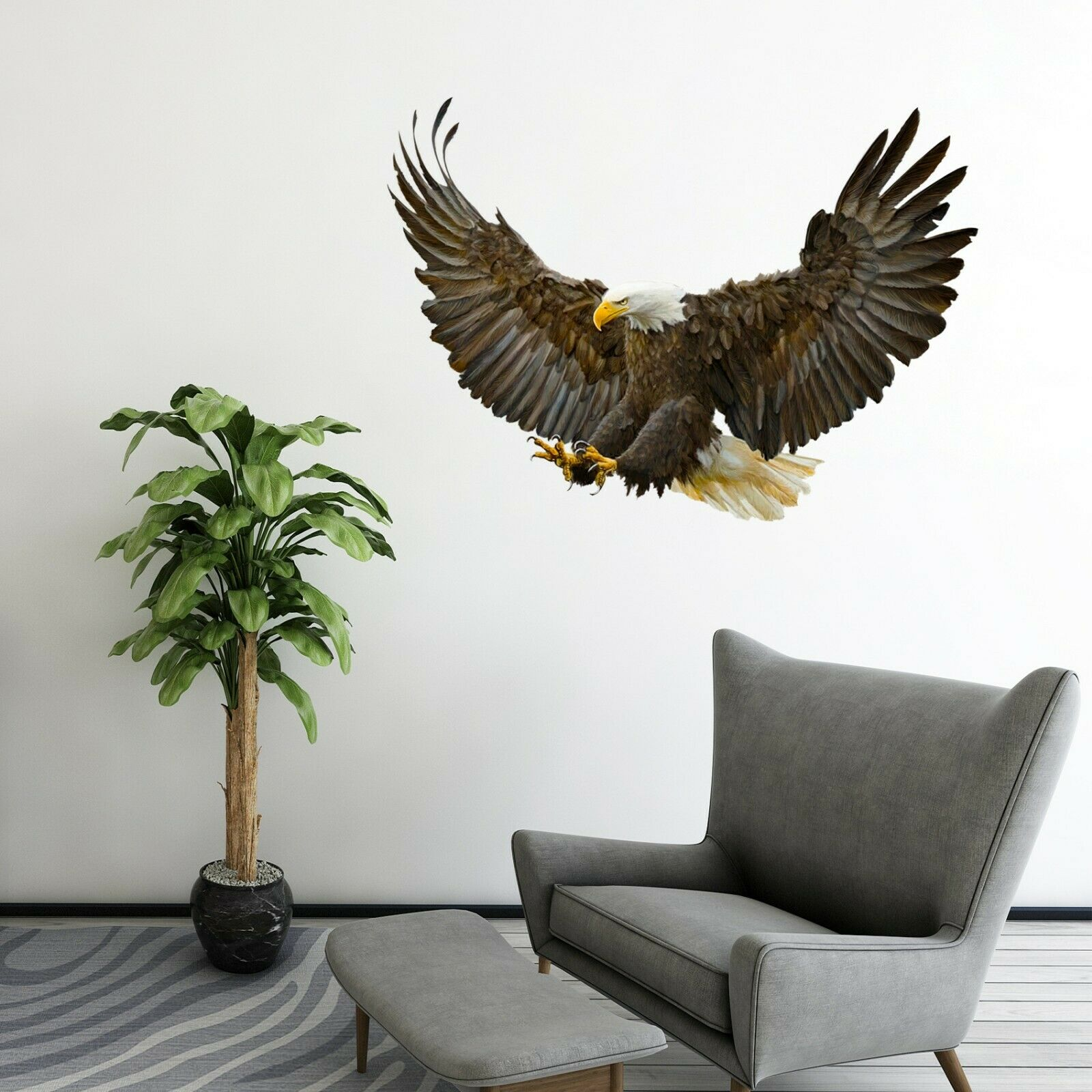 3D Eagle Foraging P43 Animal WandPapier Mural Self-adhesive Removable Zoe