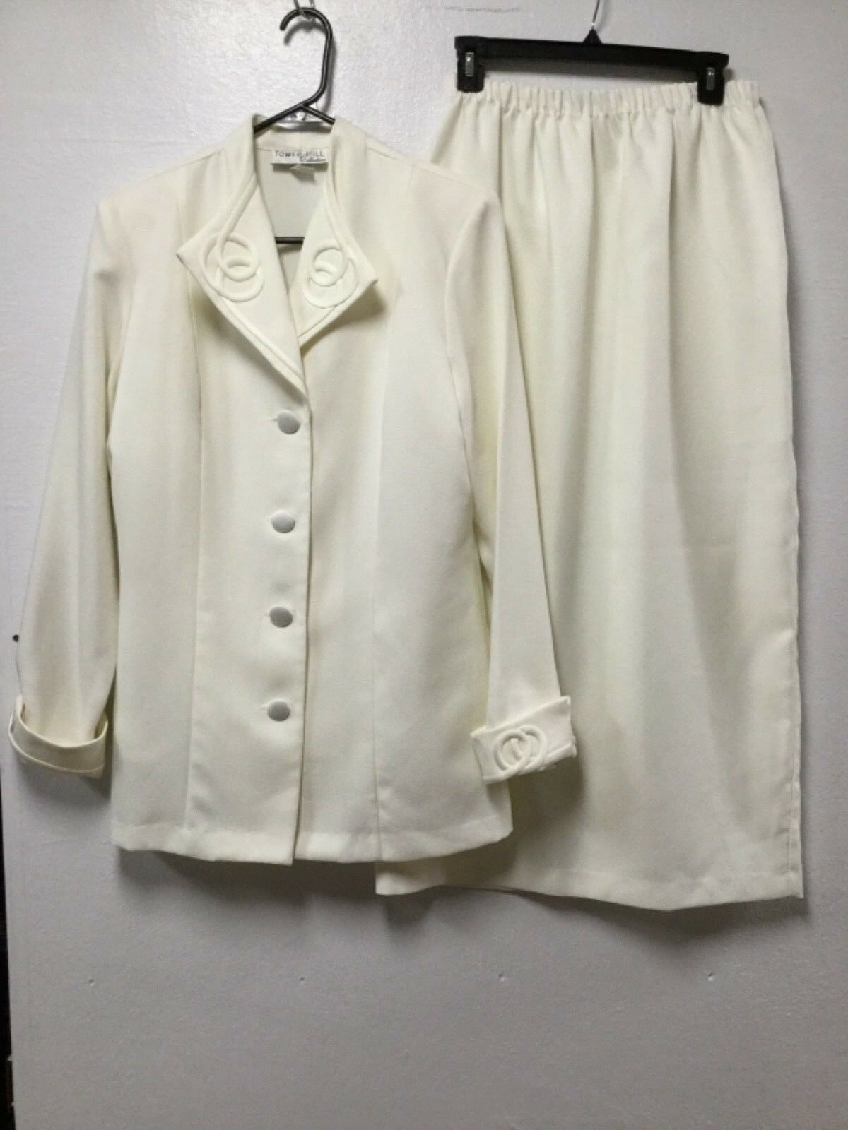 Womens Formal 3 Piece Skirt Suit Size 14 Ivory Mother of the Bride Tower Hill 55