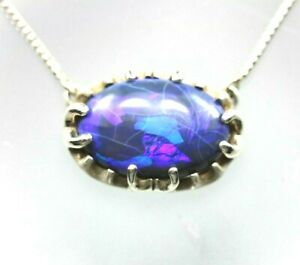 Black-Opal-10-30ct-oval-silver-pendant-necklace-14k-white-gold-18-034-Franco-chain
