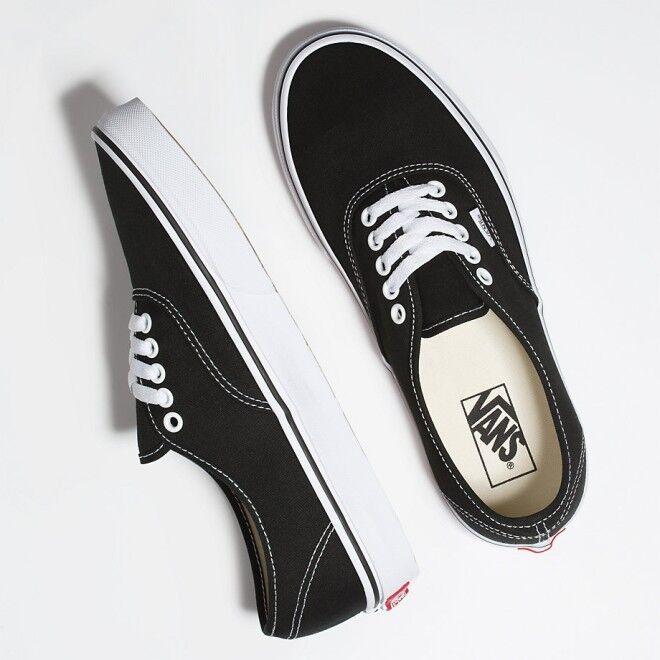 Vans Authentic Core Classic Canvas Black Skate Shoes Sneakers - VN000EE3BLK1