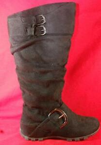 Women S Soda Margo Black Zip Buckles Knee High Tall Casual