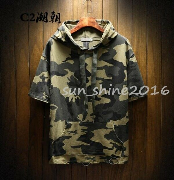 Men's Summer Short Sleeve Hoodies Punk Retro Oversize Camouflage T-shirts S-5XL