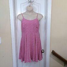 NWT Old Navy sz L pink white rayon print sun dress, sleeveless, elastic smocking