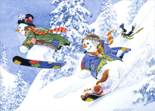 Snowboarding Snowmen Dog and Cat  DR Laird Box of 18 Christmas Cards