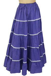 Bimba-Women-039-s-Long-Purple-Flared-Cotton-Skirt-Elastic-Waist-Wear-Clothing