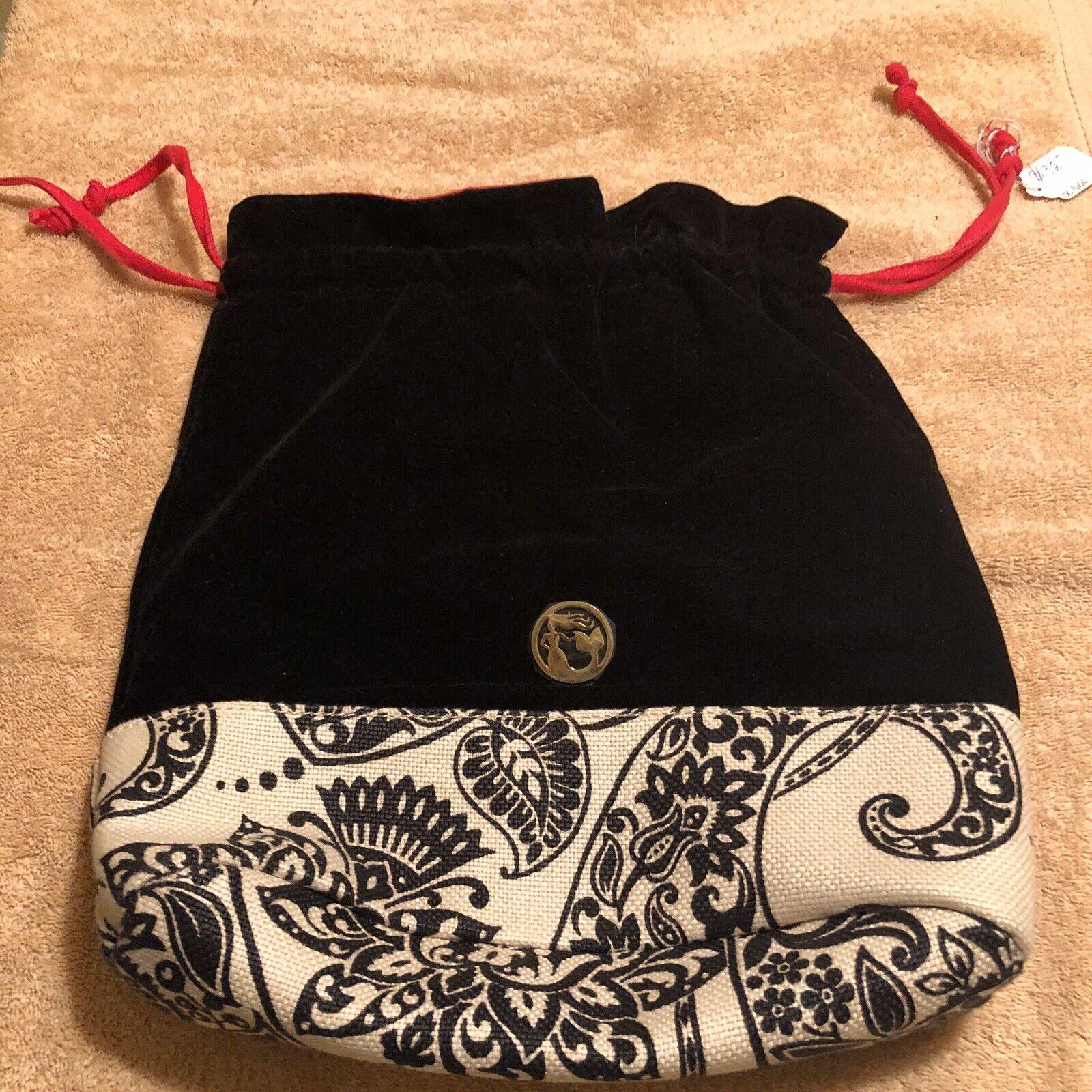 Spartina Strachan Drawstring Travel Bag Black Velvet Cream And Black Inside Pink