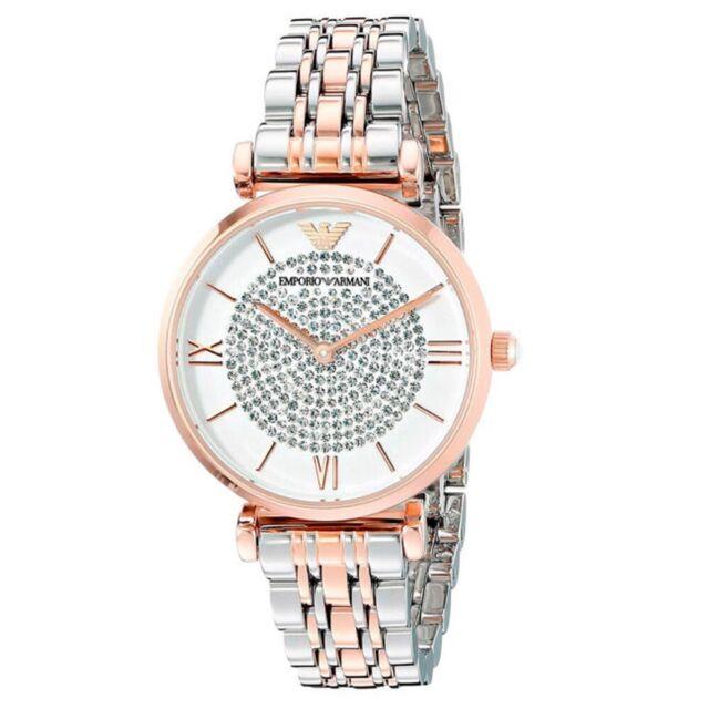 767165a081c0 Nuevo Emporio Armani AR1926 Blanco Cristal Pave Dial Dos Tonos Reloj Para  Mujer