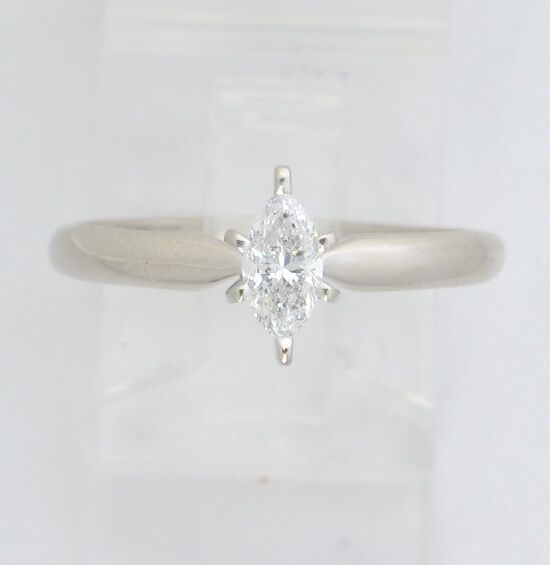 14k White gold Marquise Diamond Solitaire Engagement Ring .36ct