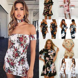 Women-039-s-Boho-Floral-Chiffon-Summer-Party-Evening-Beach-Short-Mini-Dress-Sundress