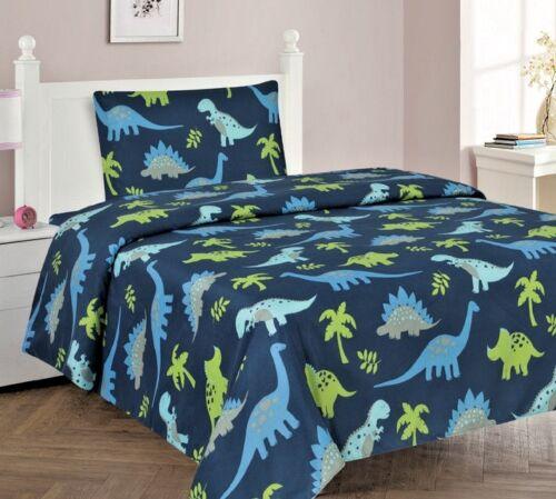 3//4 Piece Kids//Teens Fitted Flat SHEET Pillow Cases Set Jungle Dinosaur Blue