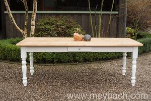Details zu Esstisch Tisch Massiv Esszimmer Landhaus Shabby 200 cm mod.03  weiss/natur Neu
