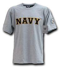 US NAVY Applique USN Army Military Shirt grey tshirt grau mit Wappen M