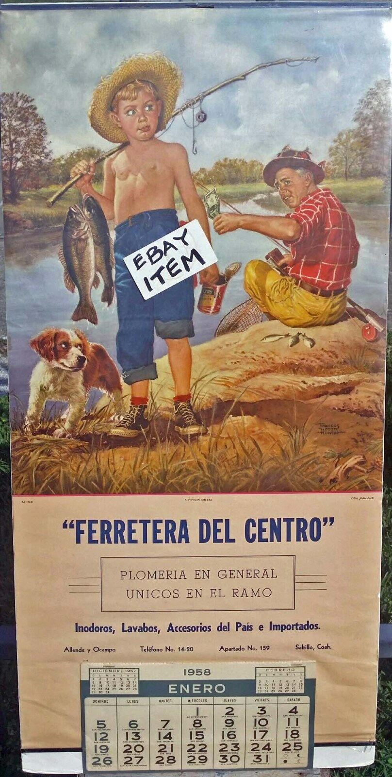 1958  CALENDAR Ferretera Del Centro SALTILLO COAHUILA MEXICO Boy Fishing F HUNTER  save 60% discount
