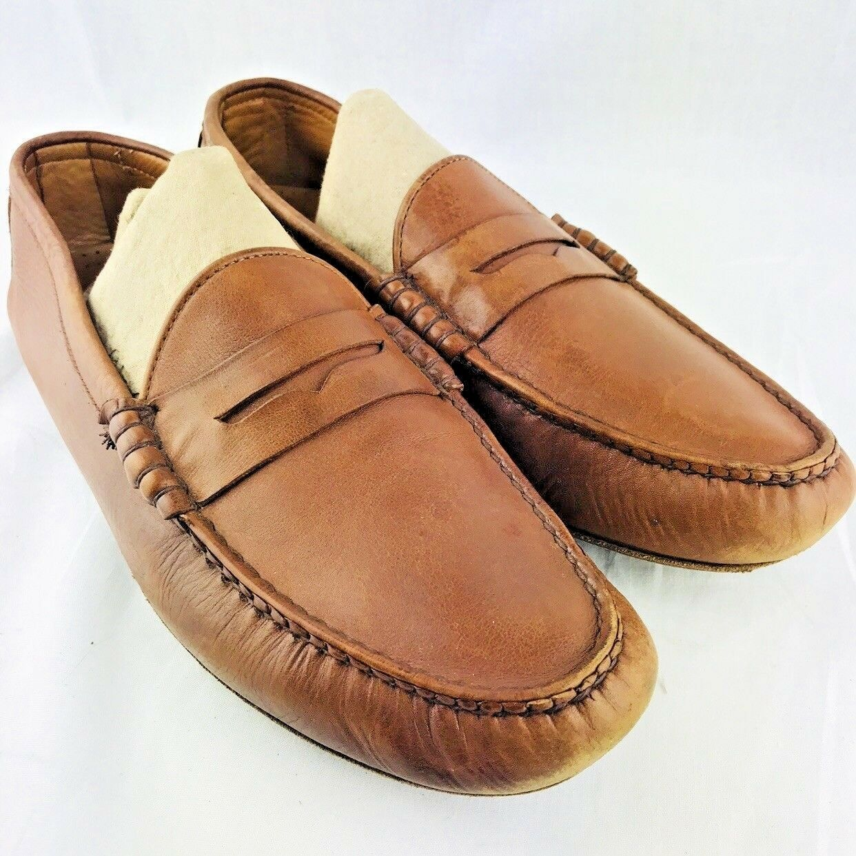 Allen Edmonds Winthrop Uomo's 11 D Penny Loafers Brown Pelle Driving Moccasins