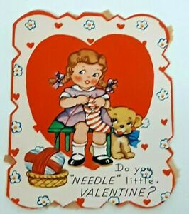 DO-YOU-NEEDLE-LITTLE-VALENTINE-Greeting-Card-Vtg-40s-USA-AMeriCard-118-Sew-Knit