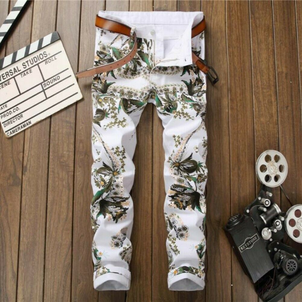 Mens Floral Printed Slim Fit Clubwear Trousers Hairstylist Dress Casual Pants sz