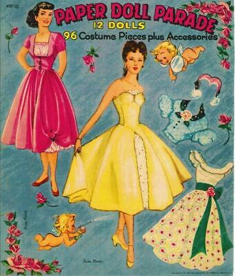 VINTAGE UNCUT 1942 JOAN CARROLL PAPER DOLLS~8 PAGES CLOTHING SET~#1 REPRODUCTION