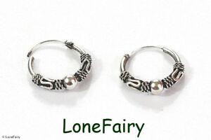 Pair of Solid 925 Sterling Silver Bali Style Hoop Earrings Ethnic Hippy Festival