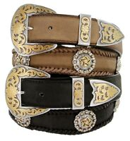 Gold Coloma Concho Men's Western Leather Belt 1-1/2 (38mm) Wide