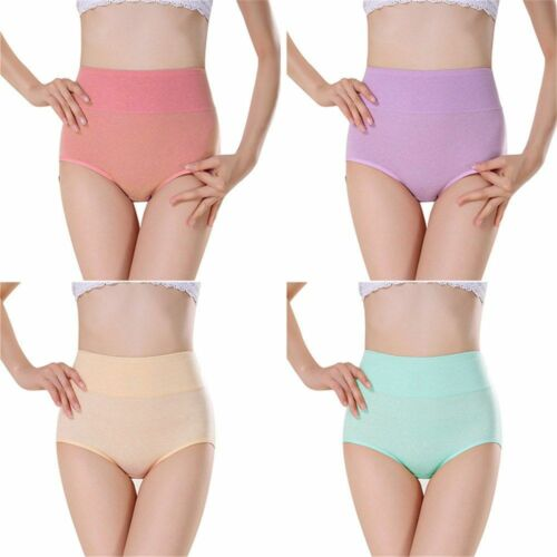 Women Comfortable Panties Plus Size High Waist Underwear Cotton Fabric 4pcs Pack