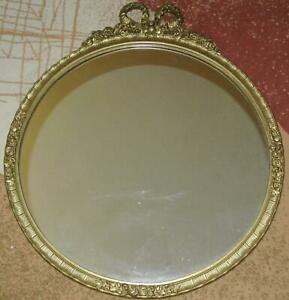 Vintage-Large-ORNATE-Gold-Gilt-Rose-Framed-26-034-Round-MIRROR-American-Beauty-LOOK