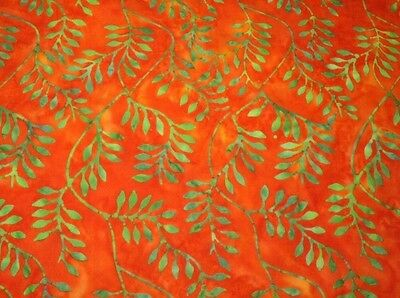 "64"" Remnant Benartex Bali Batik 01933-33 Orange/Apple Green Cotton Batik Fabric"