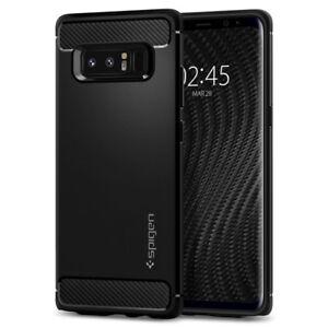 Samsung-Galaxy-Note-8-Case-I-Spigen-Rugged-Armor-Shockproof-Black-TPU-Cover