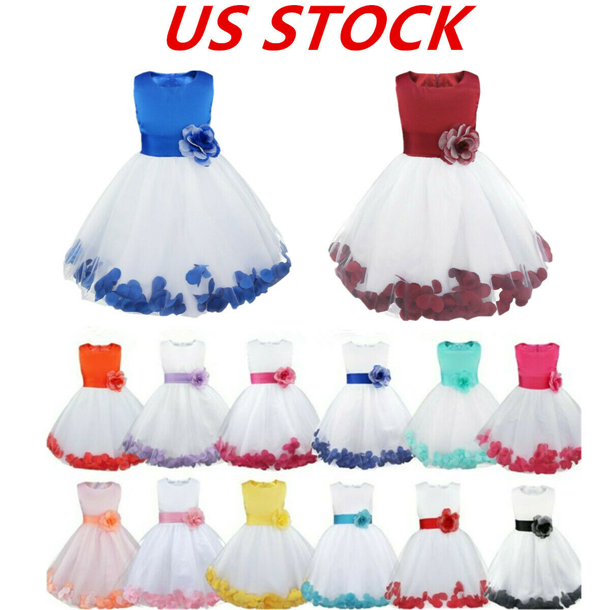 US Flower Girls Princess Dress Kids Wedding Bridesmaid Formal Pageant Party Gown
