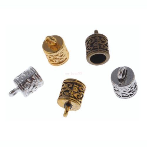 40Pc Craft Necklace Bracelet Leather Cord End Bead Cap Stopper Fit 6mm Bead Caps